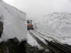 Digging the railway track out of the snow on Snowdon