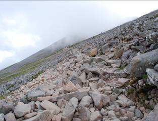 The zigzag path on Ben Nevis. The slightly lighter coloured rock is