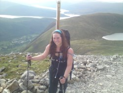 Katherine carries her pole up Ben Nevis