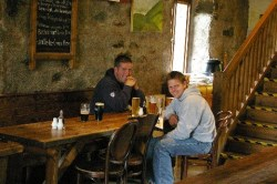 Simon and Mark at the Ben Nevis Inn preparing for their attempts at the Three Peaks Challenge
