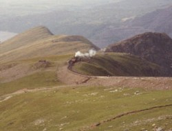 Train puffing up Snowdon
